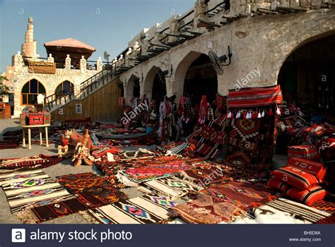 Traditional middle eastern carpets for sale in souq Waqif