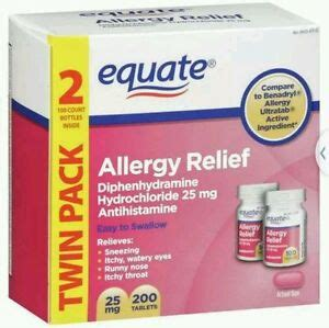 Equate Diphenhydramine Hydrochloride Allergy Relief, 200ct